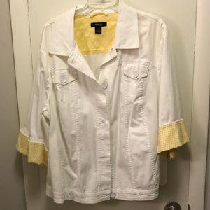Size 24W White Denim Jacket w 3/4 sleeves